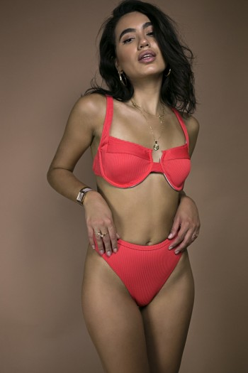 Sandcastles ribbed bikini set in coral