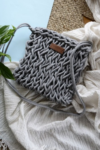 Knitted rope shoulder bag