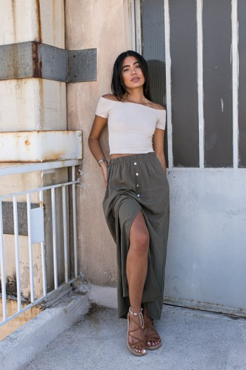 Long skirt with front buttons