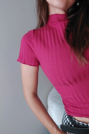 Rib top with high neck