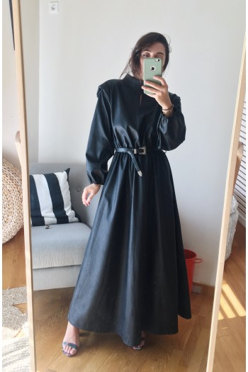 Leather dress with shoulder pads