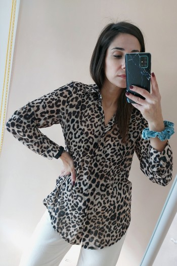 Animal print sheer shirt