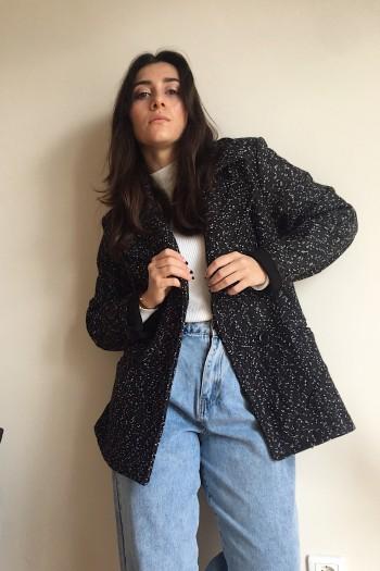Tweed like blazer coat