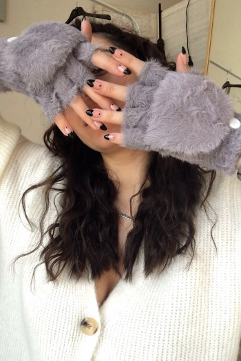 Fluffy gloves 2-ways