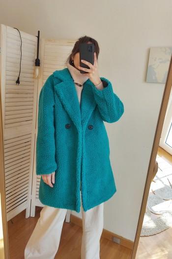 Borg & warm coat in jade blue