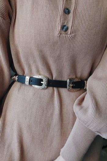 Twin buckle slim belt
