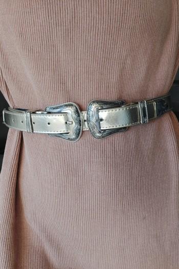 Twin buckle golden belt