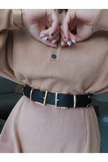 Double rose gold buckle belt