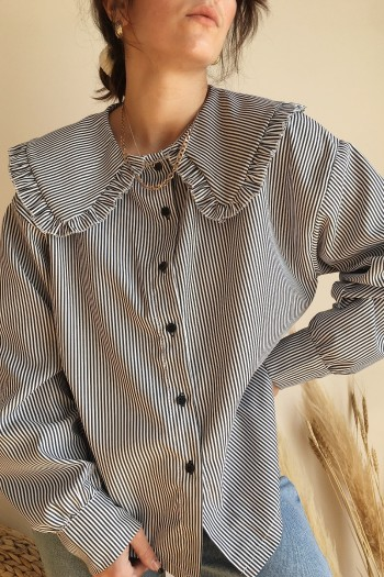 Striped shirt with ruffled collar