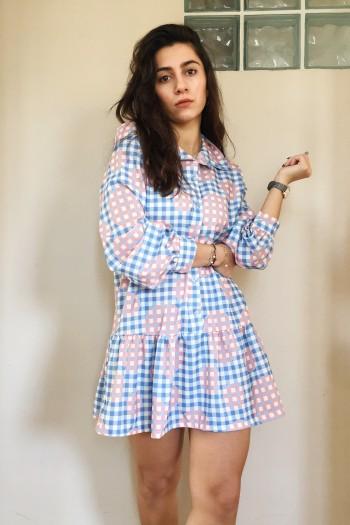 Blakely checkered shirt dress