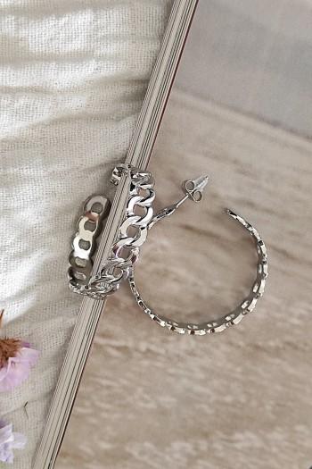 Linked silver earrings
