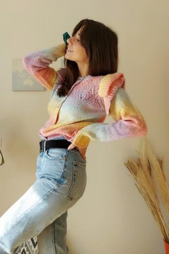 Rainbow cardigan with ruffled shoulders