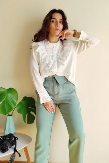 Frilled lace shirt