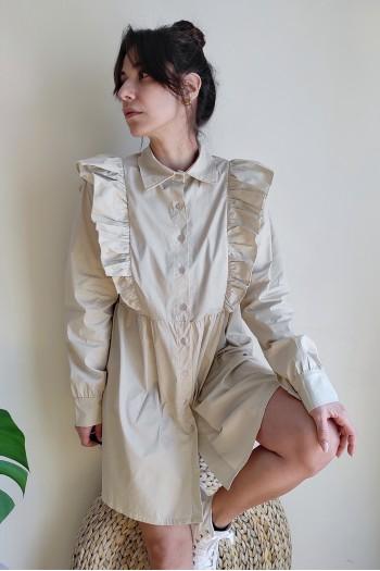 Ruffled detail shirt dress