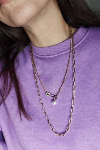 Safety pin layered necklace