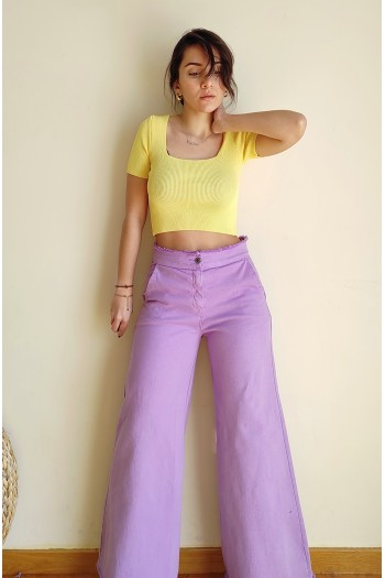 Cropped flare lilac trousers