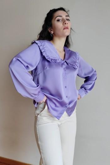 Satin shirt with ruffled collar