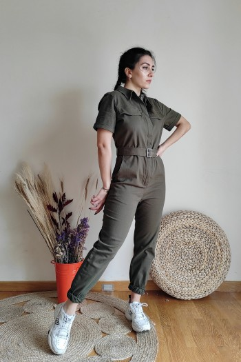 Industrial jumpsuit in olive
