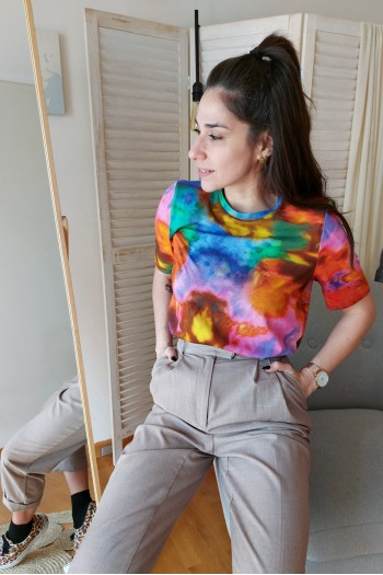 Tie dye top with shoulder pads