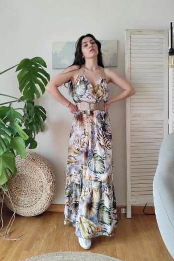 Tropic leaf maxi dress
