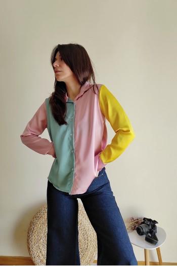 Janine colorblock satin shirt
