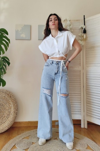 Wide leg and raw jeans