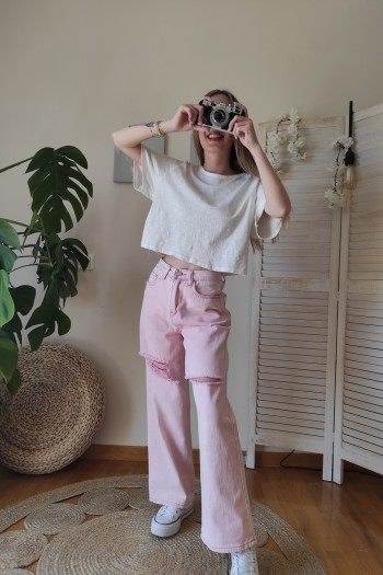 Pinky wide leg and raw jeans