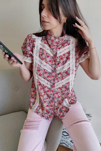 Lacework floral shirt