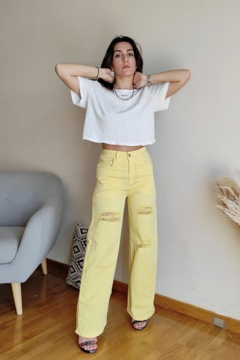 Wide leg yellow trousers
