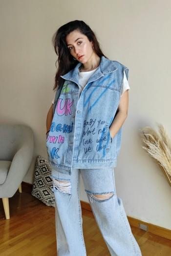 Destroyed oversize jean jacket