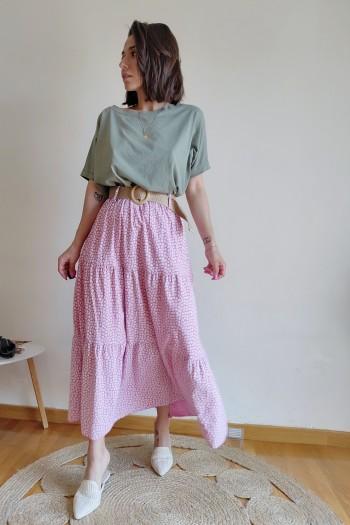 Ditsy floral skirt with belt