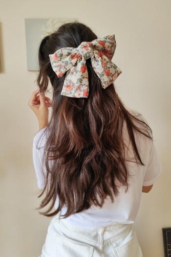Rose bow hair clip