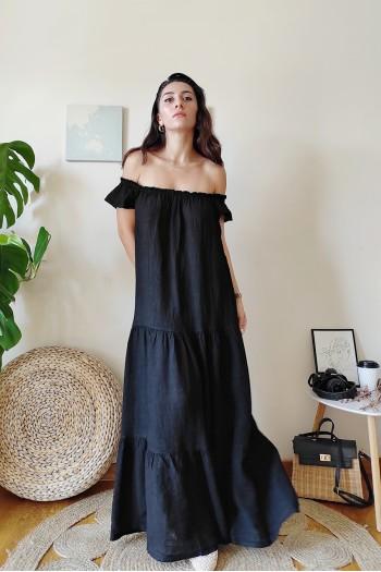 Off the shoulder linen dress