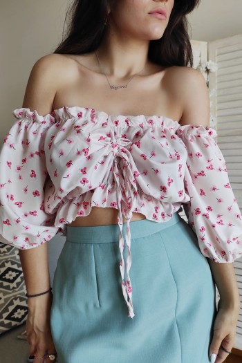 Cherry flower cropped top