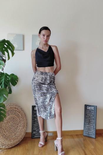 Ruched zebra skirt