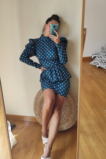 Marilyn ruffled dress in polka dot