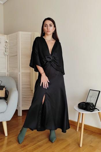 Front knot satin dress
