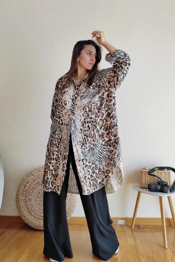 Oversized leopard shirt